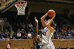 20 December 2011: Duke's Allison Vernerey (FRA) (43) and UNCW's Ayoola Weaver (32). The Duke University Blue Devils defeated the University of North Carolina Wilmington Seahawks 107-45 at Cameron Indoor Stadium in Durham, North Carolina in an NCAA Division I Women's basketball game.