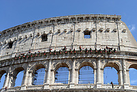 ROMA, 27 MAGGIO 2017<br /> I vigili del fuoco si allenano al Colosseo per calare il tricolore durante la parata del 2 Giugno