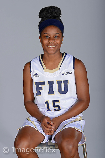 14 October 2015:  FIU guard Kristian Hudson (15) poses during picture day at FIU Arena in Miami, Florida.