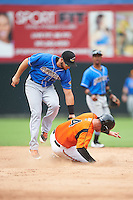 Akron RubberDucks second baseman Todd Hankins (8) tags Jeff Kemp (4) sliding into second base during the first game of a doubleheader against the Bowie Baysox on June 5, 2016 at Prince George's Stadium in Bowie, Maryland.  Bowie defeated Akron 6-0.  (Mike Janes/Four Seam Images)