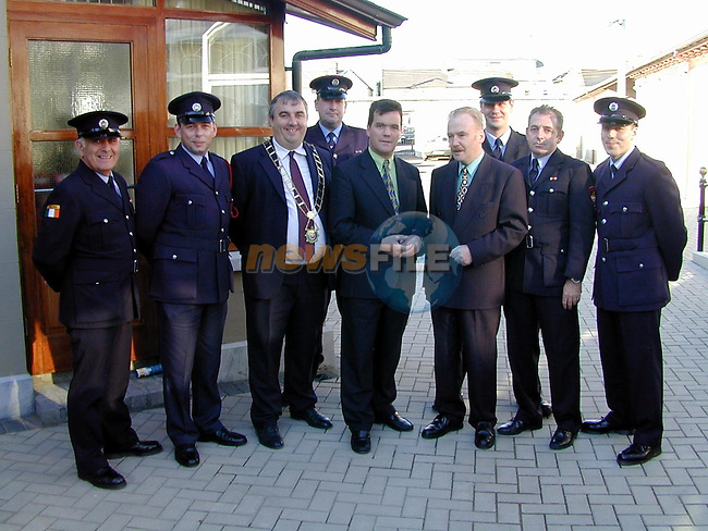 Drogheda Fire Brigade with Minister Noel Dempsey and Mayor Sean Collins at the official opening of the new corporation offices..Picture Paul Mohan Newsfile