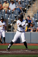 West Virginia Black Bears Matthew Fraizer (52) at bat during a NY-Penn League game against the Batavia Muckdogs on August 29, 2019 at Monongalia County Ballpark in Morgantown, New York.  West Virginia defeated Batavia 5-4 in ten innings.  (Mike Janes/Four Seam Images)