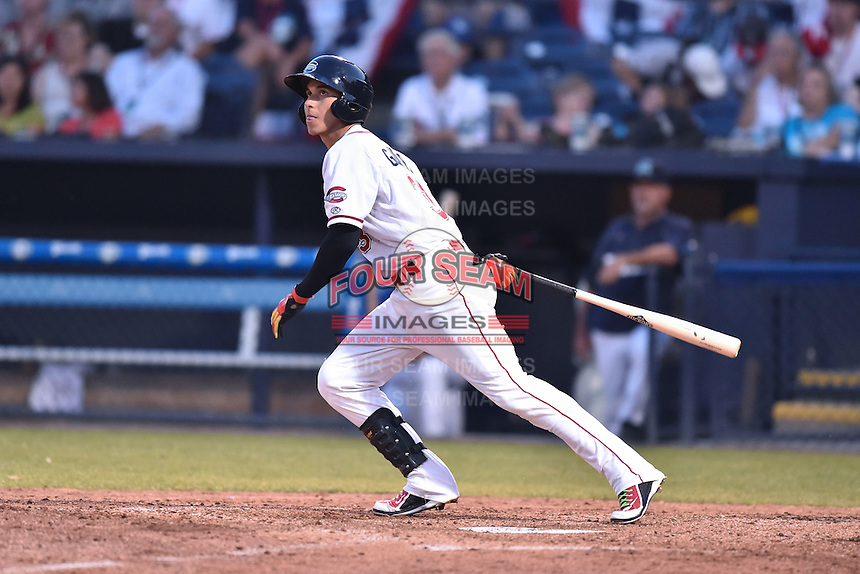 Greenville Drive shortstop Javier Guerra (31) swings at a pitch during the South Atlantic League All Star Game on June 23, 2015 in Asheville, North Carolina. The North Division defeated the South 7-5(Tony Farlow/Four Seam Images)