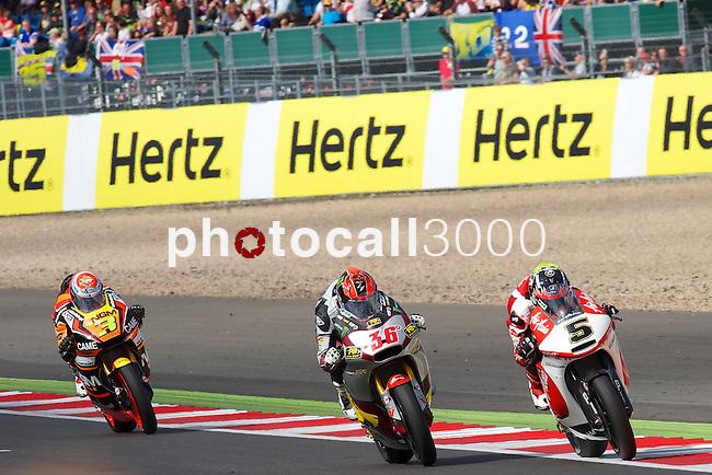 hertz british grand prix during the world championship 2014.<br /> Silverstone, england<br /> August 31, 2014. <br /> Race Moto2<br /> Johann zarco<br /> mika kallio<br /> PHOTOCALL3000/ RME