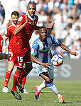 CD Leganes' Mamadou Kone (r) and Sevilla FC's Steven N'Zonzi during La Liga match. October 15,2016. (ALTERPHOTOS/Acero)