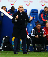 Leicester City manager Claudio Ranieri urges his team on during the Barclays Premier League match between Leicester City and Swansea City played at The King Power Stadium, Leicester on 24th April 2016