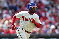 Philadelphia Phillies shortstop Jimmy Rollins #11 during their home opener against the Miami Marlins at Citizens Bank Park on April 9, 2012 in Philadelphia, Pennsylvania.  Miami defeated Philadelphia 6-2.  (Mike Janes/Four Seam Images)