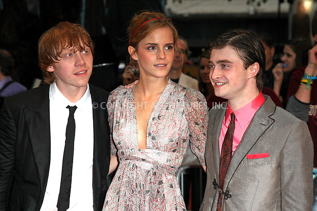 """WWW.ACEPIXS.COM . . . . .  ..... . . . . US SALES ONLY . . . . .....July 7 2009, London....Actors Rupert Grint, Emma Watson and Daniel Radcliffe at the World Premiere of """"Harry Potter And The Half-Blood Prince"""" held at the Empire Leicester Square on July 7 2009 in London....Please byline: FAMOUS-ACE PICTURES... . . . .  ....Ace Pictures, Inc:  ..tel: (212) 243 8787 or (646) 769 0430..e-mail: info@acepixs.com..web: http://www.acepixs.com"""