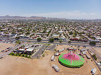 Aerial view of the Atayde circus tent in the Lanix soccer fields in Hermosillo, Sonora, Mexico<br />