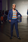 Model walks runway in an outfit from the Dreu Beckemberg Spring Summer 2020 collection at Cope NYC, on October 12, 2019, during Fashion Week Brooklyn Spring Summer 2020.
