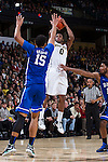 Codi Miller-McIntyre (0) of the Wake Forest Demon Deacons shoots over Jahlil Okafor (15) of the Duke Blue Devils during second half action at the LJVM Coliseum on January 7, 2015 in Winston-Salem, North Carolina.  The Blue Devils defeated the Demon Deacons 73-65.  (Brian Westerholt/Sports On Film)