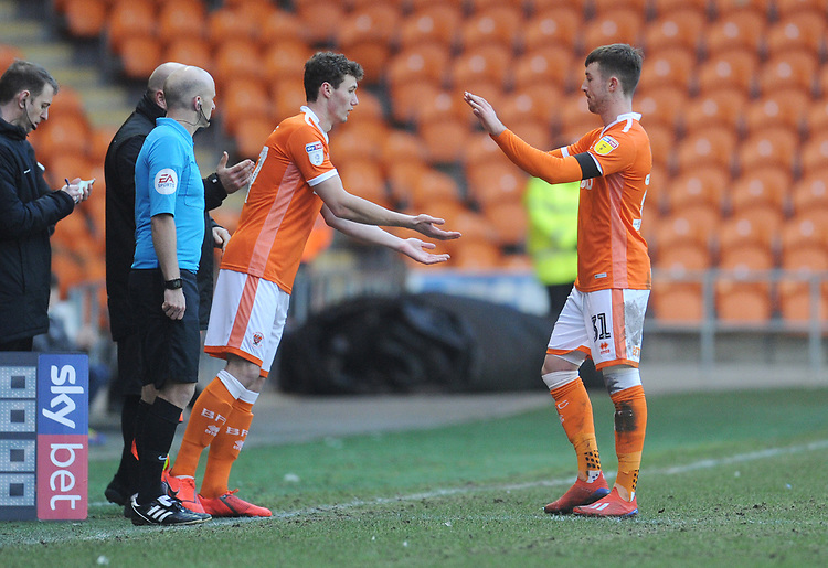 Blackpool's Matthew Virtue comes on to make his debut, replacing Chris Long<br /> <br /> Photographer Kevin Barnes/CameraSport<br /> <br /> The EFL Sky Bet League One - Blackpool v Walsall - Saturday 9th February 2019 - Bloomfield Road - Blackpool<br /> <br /> World Copyright &copy; 2019 CameraSport. All rights reserved. 43 Linden Ave. Countesthorpe. Leicester. England. LE8 5PG - Tel: +44 (0) 116 277 4147 - admin@camerasport.com - www.camerasport.com