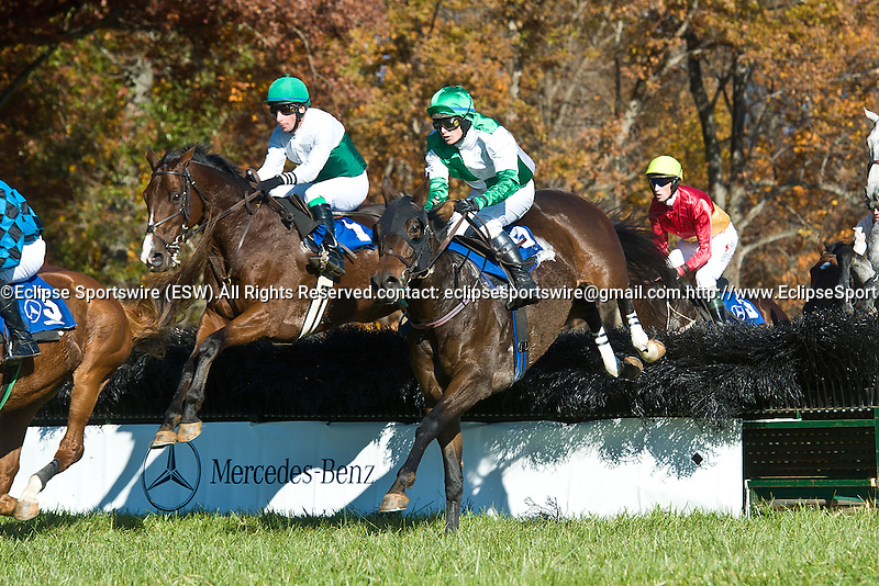 05 November2011:  Rainiero (Chi) and Matt McCarron (outside, green and white) win The Montpelier Cup at Montpelier Hunt Races in Orange, Va.  Hue of Crimson and Jeff Murphy finished fourth. Rainiero is owned by Augustin Stables and trained by Richard L. Valentine   Susan M. Carter/Eclipse Sportswire