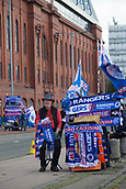 9th September 2017, Ibrox Park, Glasgow, Scotland; Scottish Premier League football, Rangers versus Dundee; Scarf seller outside Ibrox, home of Rangers