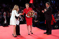 Sharon Stone wearing the Red Cross t-shirt<br /> Roma 02/12/2018. Palazzo dei Congressi. L'attrice Sharon Stone riceve la croce d'oro al merito dalla Croce Rossa Italiana durante il Jump 2018.<br /> Rome July 30th 2018. Actress Sharon Stone receives the Gold Medal of Merit from Italian Red Cross during the event Jump 2018.<br /> Foto Samantha Zucchi Insidefoto