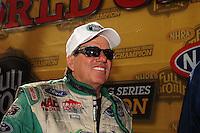 Nov 14, 2010; Pomona, CA, USA; NHRA funny car driver John Force during the Auto Club Finals at Auto Club Raceway at Pomona. Mandatory Credit: Mark J. Rebilas-