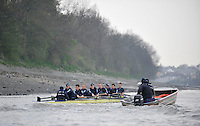 Putney, GREAT BRITAIN,  Oxford University BC. OUBC,. Thursday morning training session,  Tideway week. Championship course. Putney/Mortlake, Thursday   05/04/2012 [Mandatory Credit, Peter Spurrier/Intersport-images]..OUBC Crew: OUBC. Bow Dr. Alexander Woods, 2. William Zeng, 3. Kevin Baum, 4. Alex Davidson,5. Karl Hudspith, 6. Dr. Hanno Wienhausen, 7. Dan Harvey,Stk. Roel Haen, Cox. Zoe De Toledo. Chief Coach; Sean BOWDEN.