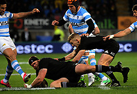 Joe Moody dives on loose ball during the Rugby Championship match between the NZ All Blacks and Argentina Pumas at Yarrow Stadium in New Plymouth, New Zealand on Saturday, 9 September 2017. Photo: Dave Lintott / lintottphoto.co.nz