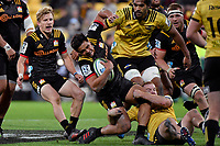 Chiefs' Anton Lienert-Brown in action during the Super Rugby - Hurricanes v Chiefs at Westpac Stadium, Wellington, New Zealand on Friday 13 April 2018.<br /> Photo by Masanori Udagawa. <br /> www.photowellington.photoshelter.com