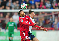 Accrington Stanley's Jonny Edwards vies for possession with Preston North End's Ben Davies<br /> <br /> Photographer Kevin Barnes/CameraSport<br /> <br /> The Carabao Cup - Accrington Stanley v Preston North End - Tuesday 8th August 2017 - Crown Ground - Accrington<br />  <br /> World Copyright &copy; 2017 CameraSport. All rights reserved. 43 Linden Ave. Countesthorpe. Leicester. England. LE8 5PG - Tel: +44 (0) 116 277 4147 - admin@camerasport.com - www.camerasport.com