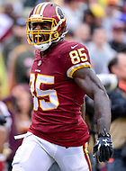 Landover, MD - September 23, 2018: Washington Redskins tight end Vernon Davis (85) is fired up after a big catch to set up a touchdown right before halftime during game between the Green Bay Packers and the Washington Redskins at FedEx Field in Landover, MD. The Redskins get the win 31-17 over the visiting Packers. (Photo by Phillip Peters/Media Images International)