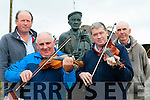 Jim Culloty, Tom O'Connell, Con Moynihan and PJ Teahan who are getting their fiddles in tune at Padraig O'Keeffe monument for the World Fiddle day which will be held in Scartaglen on May 16th