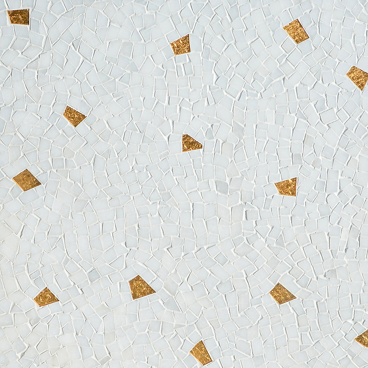 Cosmos, a hand-cut mosaic shown in polished Afyon White with 24K Gold Glass, is part of the Aurora® collection by Sara Baldwin for New Ravenna.
