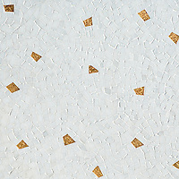 Cosmos, a hand-cut mosaic shown in polished Afyon White with 24K Gold Glass, is part of the Aurora™ Collection by Sara Baldwin for New Ravenna.