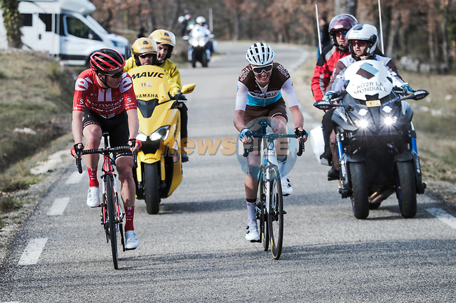 Tiesj Benoot (BEL) Team Sunweb and Romain Bardet (FRA) AG2R La Mondiale attack during Stage 6 of the 78th edition of Paris-Nice 2020, running 161.5km from Sorgues to Apt, France. 13th March 2020.<br /> Picture: ASO/Fabien Boukla | Cyclefile<br /> All photos usage must carry mandatory copyright credit (© Cyclefile | ASO/Fabien Boukla)