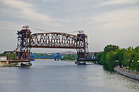 This railroad lift bridge is an uncommon bridge design and crosses the DesPlaines River just south of downtown Joliet, Illinois