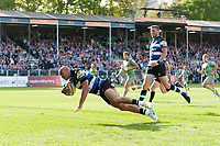 Jonathan Joseph of Bath Rugby dives for the try-line. Aviva Premiership match, between Bath Rugby and Newcastle Falcons on September 23, 2017 at the Recreation Ground in Bath, England. Photo by: Patrick Khachfe / Onside Images