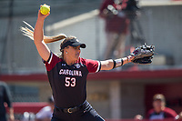 NWA Democrat-Gazette/BEN GOFF @NWABENGOFF<br /> Dixie Raley pitches for South Carolina in the bottom of the 3rd inning vs Arkansas Sunday, March 17, 2019, at Bogle Park in Fayetteville.