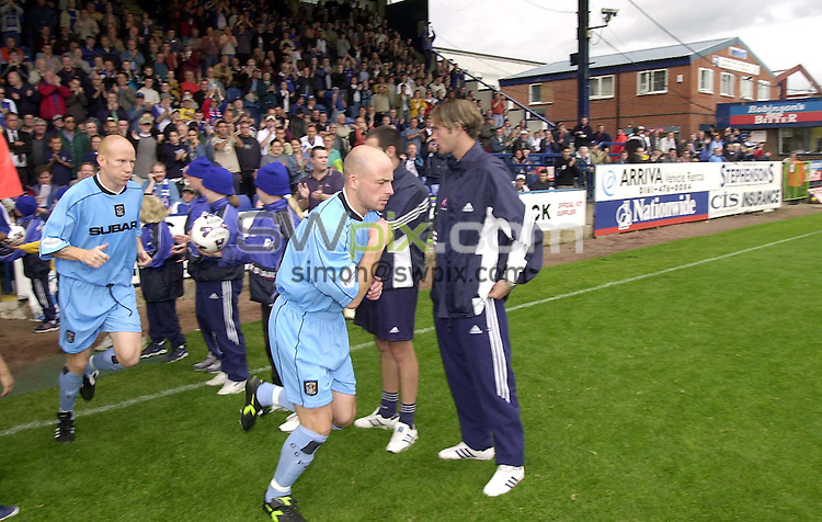 Pix: Ben Duffy.....Stockport v Coventry city.....11/08/2001..COPYWRIGHT PICTURE>>SIMON WILKINSON>>01943 436649>>..Coventry's Lee Carsley and Lee Hughes run out for their first game of the first division at Stockport County