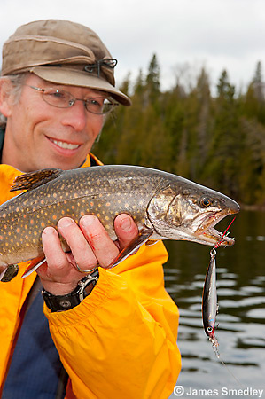 Sport fishing for splake Man holding nice splake trout