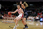 SIOUX FALLS, SD - MARCH 8: Ciara Duffy #24 of the South Dakota Coyotes looks to make a move against the defense from the Oral Roberts Golden Eagles at the 2020 Summit League Basketball Championship in Sioux Falls, SD. (Photo by Dave EggenInertia)