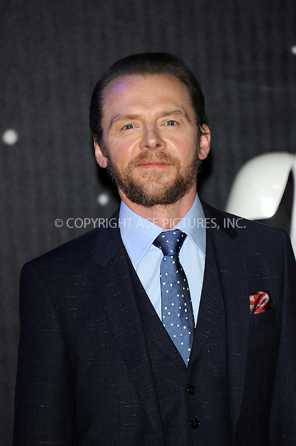 WWW.ACEPIXS.COM<br /> <br /> December 16 2015, London<br /> <br /> Simon Pegg arriving at the European Premiere of 'Star Wars: The Force Awakens' in Leicester Square on December 16, 2015 in London, England.<br /> <br /> By Line: Famous/ACE Pictures<br /> <br /> <br /> ACE Pictures, Inc.<br /> tel: 646 769 0430<br /> Email: info@acepixs.com<br /> www.acepixs.com