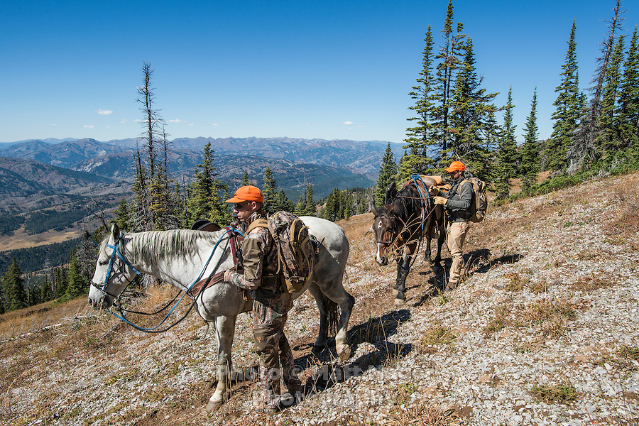 Outdoor Life Editor Andrew McKean and Mike Stock while mule deer hunting on Greyback Ridge in the Hoeback Drainage of Wyoming Region H, outside of Alpine, Wyoming, September 21, 2015.<br /> <br /> Photo by Matt Nager
