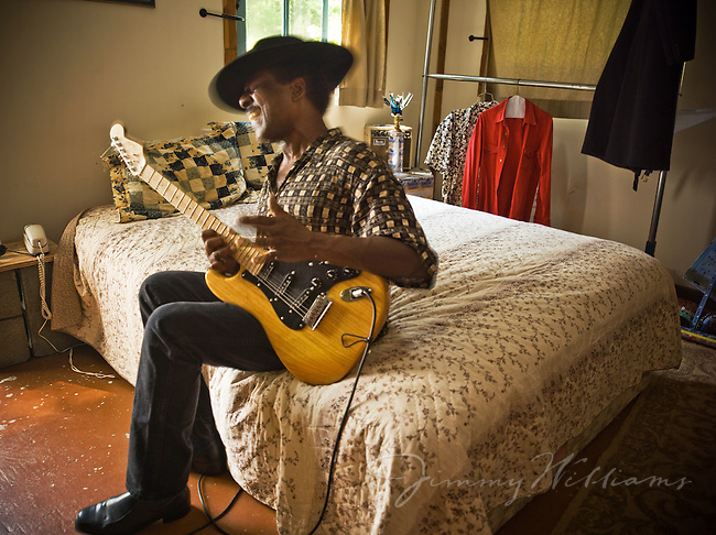 A blues guitarist, Cool John Ferguson plays his guitar at the Music Makers Organization home base in Hillsborough North Carolina.