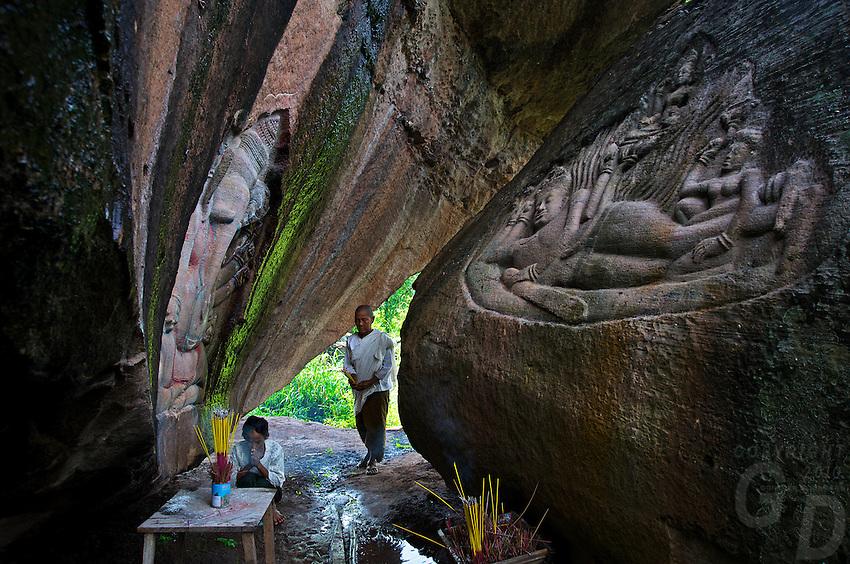 Rare Khmer carvings on a rockface in Phnom Kulen,Poeung Komnou, Mt. Kulen area.Cambodia