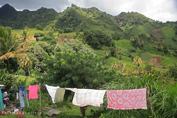 Green-Crested hills, Central St Vincent, woman washing and clothes drying