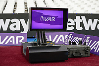 2nd November 2019; London Stadium, London, England; English Premier League Football, West Ham United versus Newcastle United; VAR monitor near the dugouts - Strictly Editorial Use Only. No use with unauthorized audio, video, data, fixture lists, club/league logos or 'live' services. Online in-match use limited to 120 images, no video emulation. No use in betting, games or single club/league/player publications