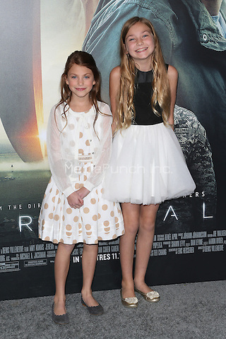 """Westwood, CA - NOVEMBER 06: Abigail Pniowsky, Anna Pniowsky at Premiere Of Paramount Pictures' """"Arrival"""" At Regency Village Theatre, California on November 06, 2016. Credit: Faye Sadou/MediaPunch"""
