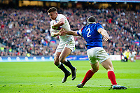 Henry Slade of England looks to get past Guilhem Guirado of France. Guinness Six Nations match between England and France on February 10, 2019 at Twickenham Stadium in London, England. Photo by: Patrick Khachfe / Onside Images