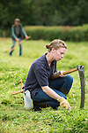 Scything at Wakehurst Place. Traditional and silent sycthes are still used to maintain important meadow habitats in Wakehurst's reserves - Royal Botanic Gardens, Kew