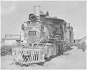 An almost head-on view of D&amp;RGW #278 on display at Montrose.  Caboose #0577 is coupled behind.<br /> D&amp;RGW  Montrose, CO  Taken by Springer, Fred M. - 1958
