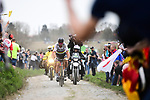 World Champion Peter Sagan (SVK) Bora-Hansgrohe on the front attacks with 55km to go on the pave during the 116th edition of Paris-Roubaix 2018. 8th April 2018.<br /> Picture: ASO/Pauline Ballet | Cyclefile<br /> <br /> <br /> All photos usage must carry mandatory copyright credit (&copy; Cyclefile | ASO/Pauline Ballet)