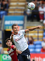 Bolton Wanderers' Pawel Olkowski under pressure from Bristol City's Callum O'Dowda<br /> <br /> Photographer Andrew Kearns/CameraSport<br /> <br /> The EFL Sky Bet Championship - Bolton Wanderers v Bristol City - Saturday August 11th 2018 - University of Bolton Stadium - Bolton<br /> <br /> World Copyright &copy; 2018 CameraSport. All rights reserved. 43 Linden Ave. Countesthorpe. Leicester. England. LE8 5PG - Tel: +44 (0) 116 277 4147 - admin@camerasport.com - www.camerasport.com