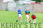 Beale Ballyduff's keeper Kacey O'Carroll gathers under pressure with the help of team mate Molly Murphy as Kerins O'Rahills Dylana O'Regan bares down on her, in the Kerry LGFA Junior C Football Championship