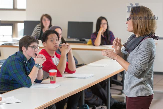 Nov. 11, 2015; Sarah Mustillo teaches, fall 2015. (Photo by Matt Cashore/University of Notre Dame)