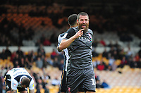 Lincoln City's Michael Bostwick celebrates scoring his side's fourth goal<br /> <br /> Photographer Andrew Vaughan/CameraSport<br /> <br /> The EFL Sky Bet League Two - Port Vale v Lincoln City - Saturday 13th October 2018 - Vale Park - Burslem<br /> <br /> World Copyright © 2018 CameraSport. All rights reserved. 43 Linden Ave. Countesthorpe. Leicester. England. LE8 5PG - Tel: +44 (0) 116 277 4147 - admin@camerasport.com - www.camerasport.com